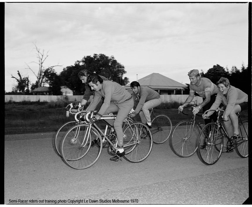 A group of club riders out training. At least two or more of these bikes fit the description of a typical Semi racer from that era, check out the Coppi track bike. Note the different fixed gear and road bikes.