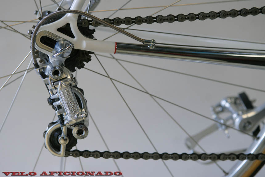 Triple chrome plated chain stay, the metal hand polished by Joe Cosgrove prior to being chrome plated