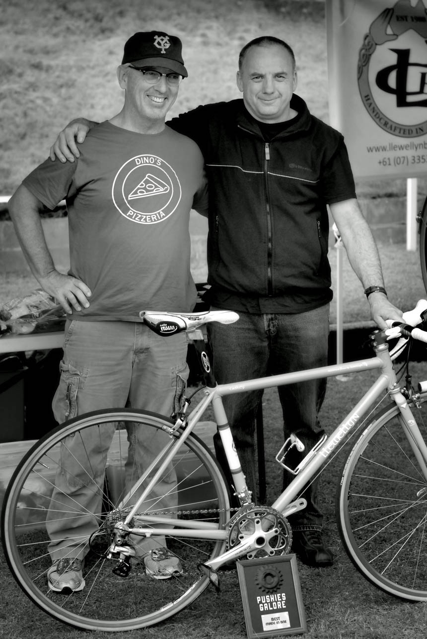 Llewellyn Bikes Darrell McCulloch (right) with John Caskey winner of a best bike prize for made in Brisbane
