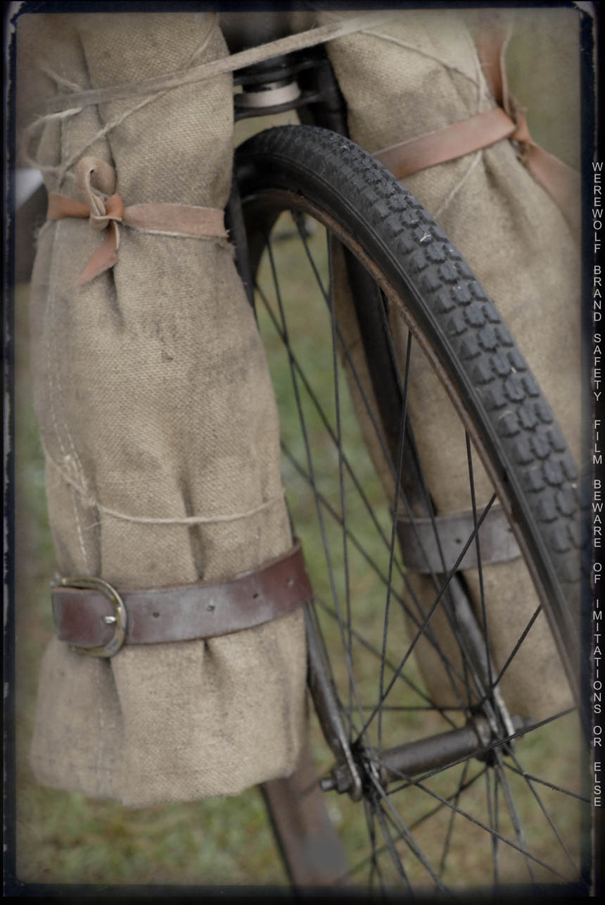 Jute, leather, rubber and steel on and Australian shearer bike