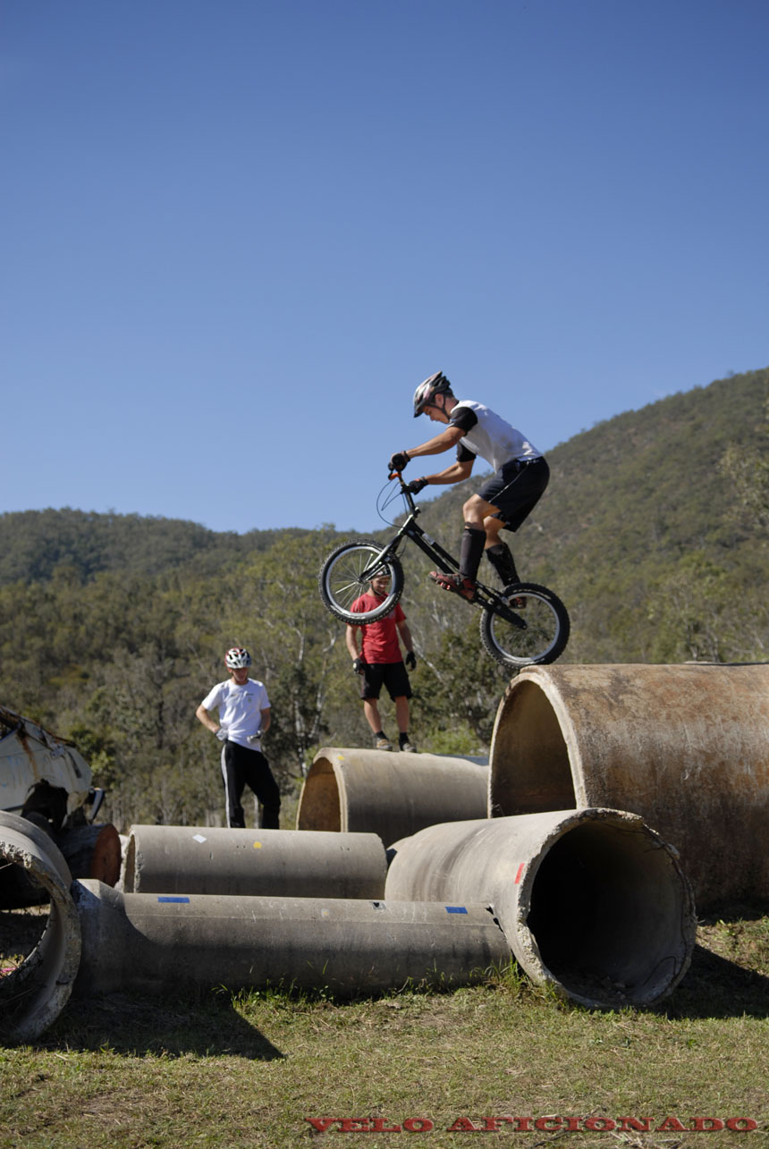 Bicycle trials in an Australian bush setting