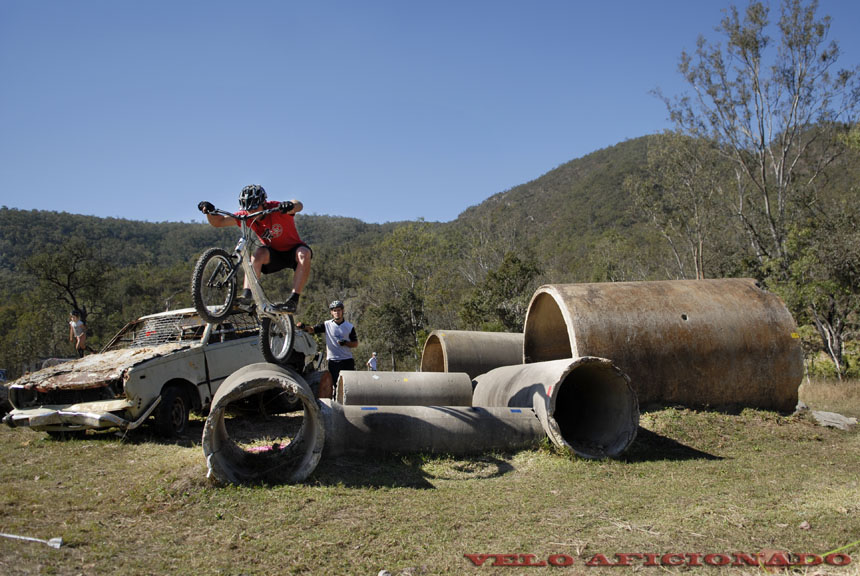 A course for bicycle and moto trials