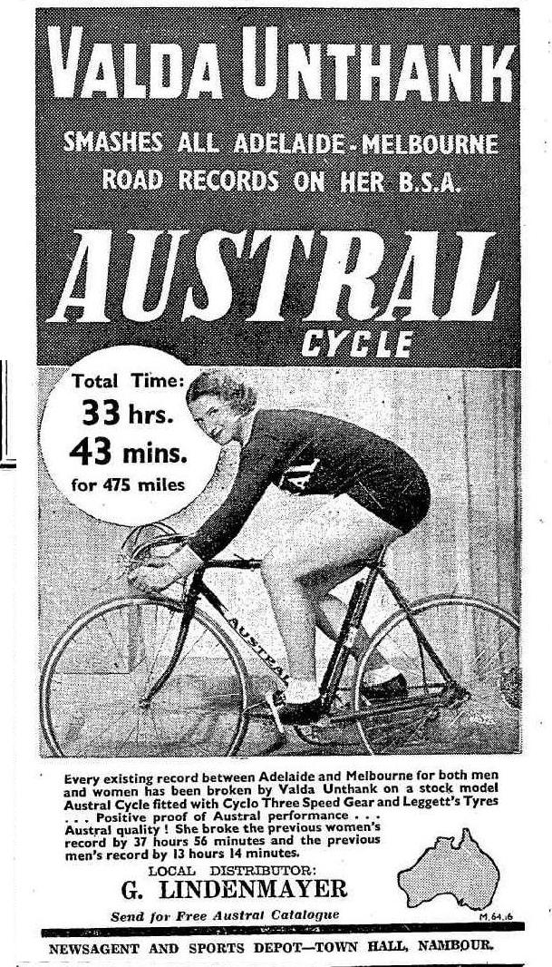 Valda Unthank breaking the Adelaide to Melbourne cycling record