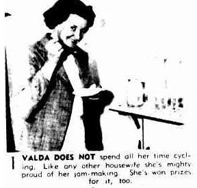Valda Unthank making jam as well as racing bicycles