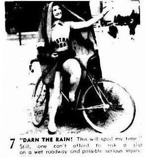 Rain avoidance techniques for early Australian cyclists, stick a towel over your head and shelter under a tree