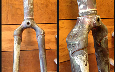 Bianchi X4 Columbus SLX forks after all deposits of original chrome plater were removed