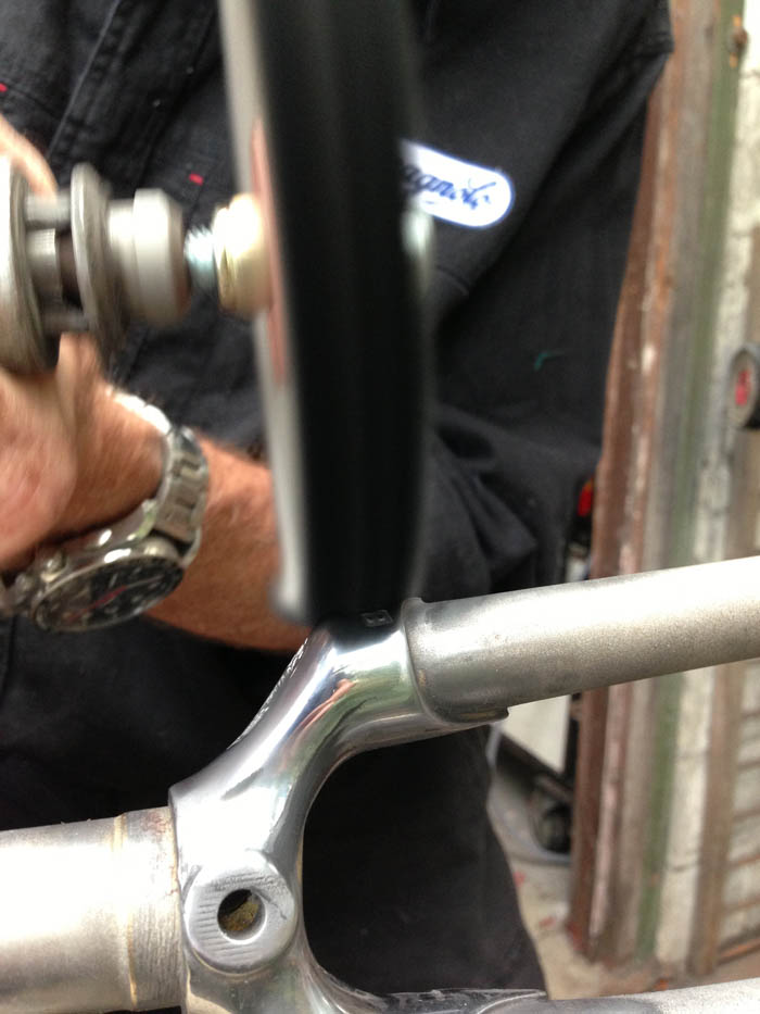 Buffing wheels used to create a mirror finish on investment cast fork crown