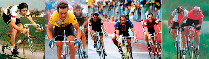 The giants of road cycling's recent past - Eddy Merckx, Bernard Hinault, Greg LeMond and Sergei Soukhoruchenkov