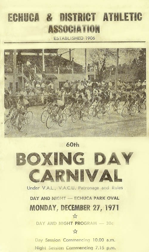 1971 Echuca Athletics and Cycling Boxing Day Carnival
