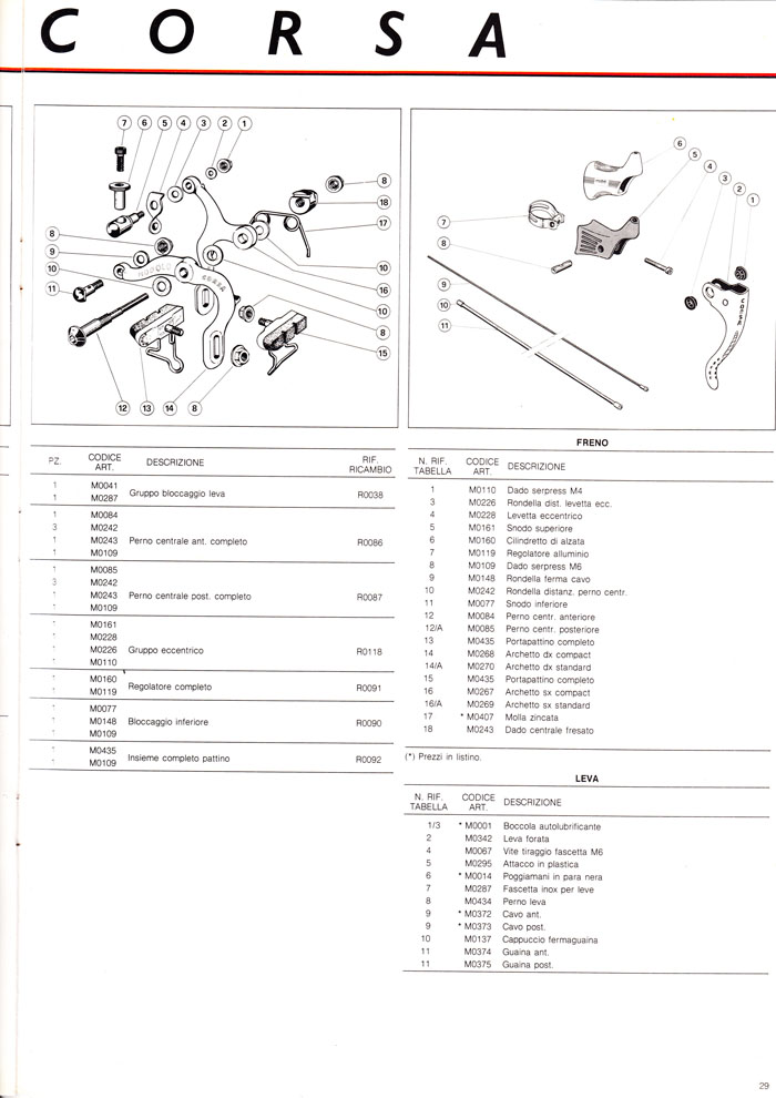 Modolo Corsa brakes, part numbers exploded diagram