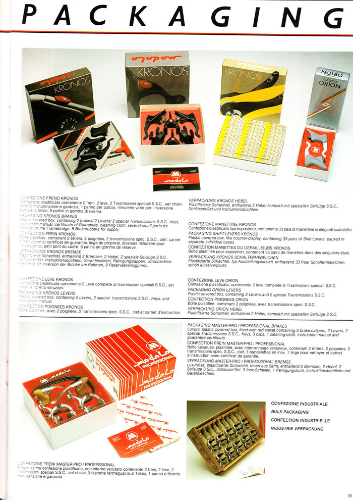 Modolo factory packaging for brake products in 1984