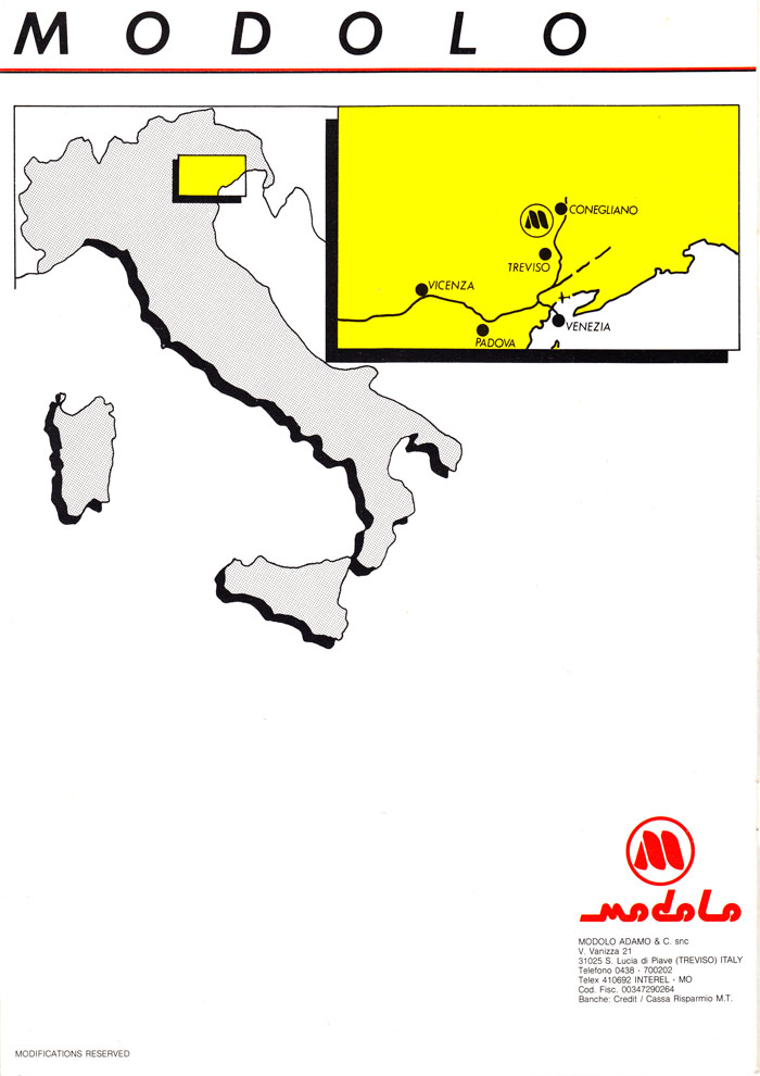 Modolo Trevisio Cornegliano location map from 1984 catalogue