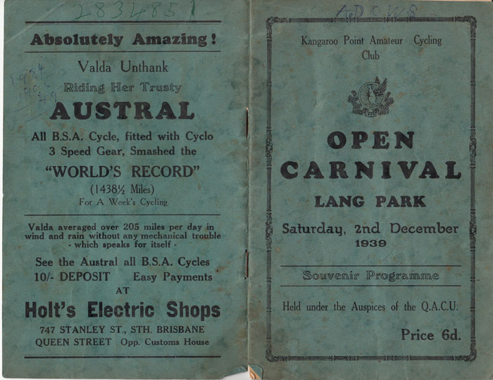 "Lang Park ""Velodrome"" Grass Track Brisbane 1939 Open Carnival"