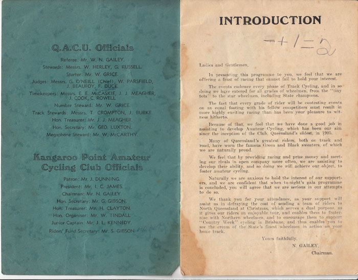 Brisbane's home track in 1939 and it wasn't Hawthorne Park Velodrome. This meet held to help defray costs to send riders to North Queensland.