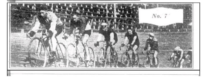 Brisbane six day race August 1932, Alexandra Park velodrome. Ossie Nicholson, eventual winner leads the field, followed by Arch McClennan, Gilroy, Jack Fitzgerald, E. Gibaud, Jack Standen and Fred Wakefield.