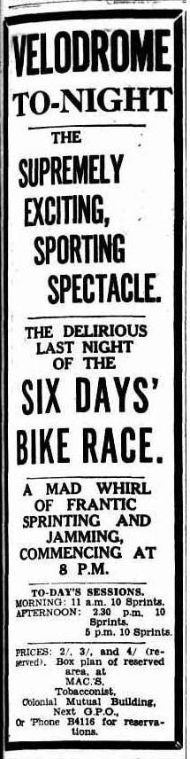 Six Day Race at Brisbane Velodrome 1932, with Hubert Opperman on the bill, plus Fatty Lamb and Ozzie Nicholson and many others.
