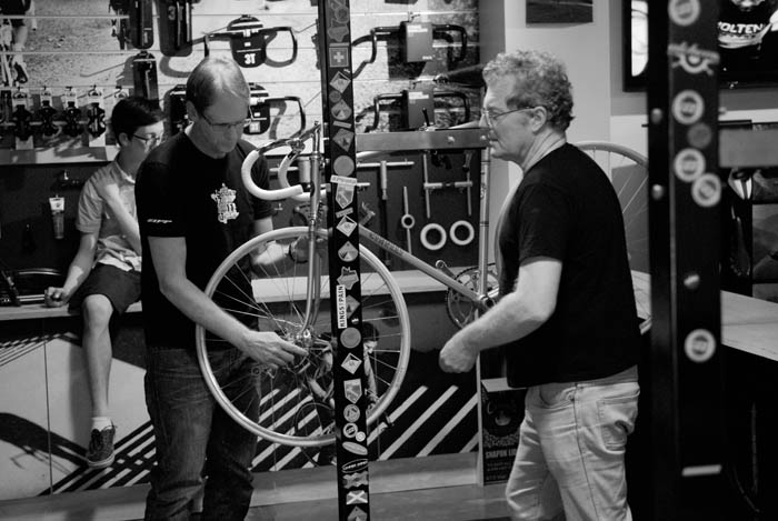 Ben Smith working on the Cinelli Track Bike