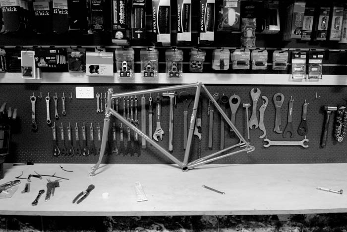 The workbench at Crankstar Bespoke bicycles