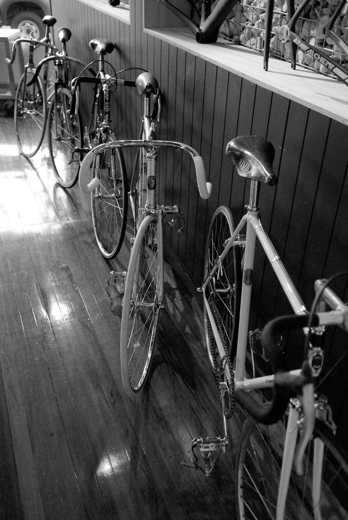 The front of Crankstar Bespoke with some serious racing heritage on the floor