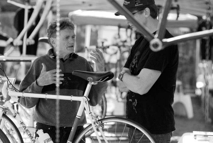 Bike painter Joe Cosgrove from Cycle Design talks to bike collector Ben Smith.