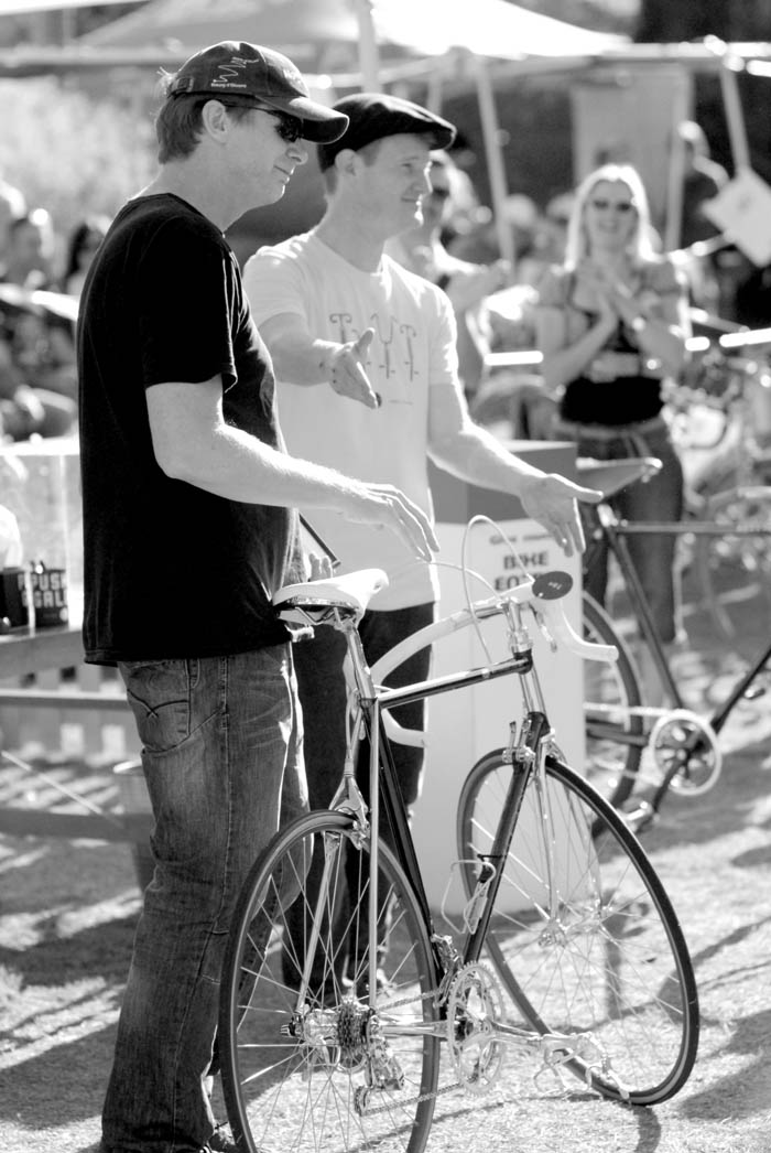 "Ben Smith with Gavin Bannerman of Pushies Galore and the show winning ""Road Bike of The Year"", Ben's ICS Ital Cicli Systems Zurich - Campagnolo C Record Gold Plated ""Carriage Market Bike""."
