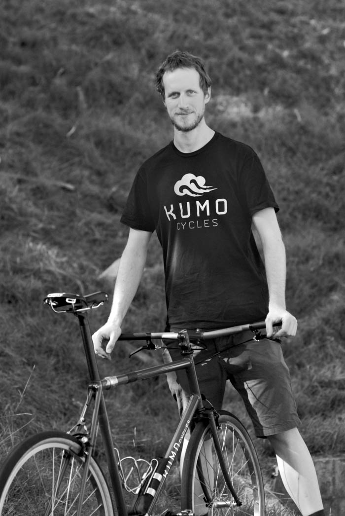Keith Marshall Kumo frame builder with his fold up travel bike.