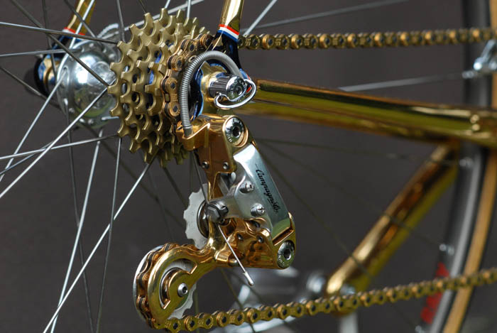 Gold plated rear derailleur parts, Campagnolo C Record 2nd Gen.
