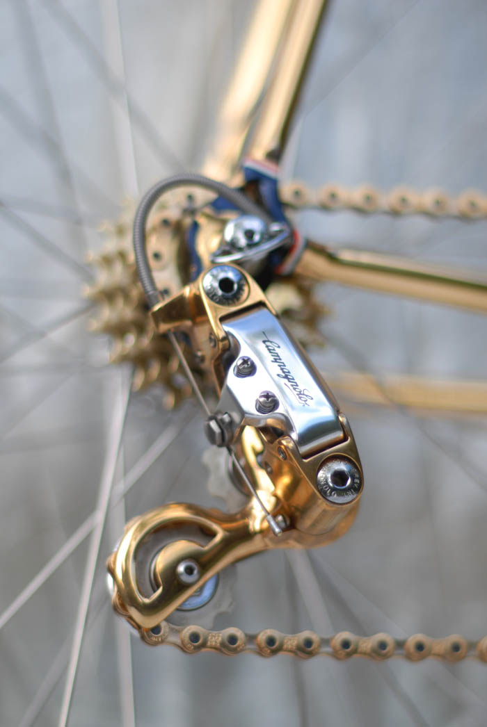 Campagnolo Corsa Record rear derailleur, ICS Design gold plating.