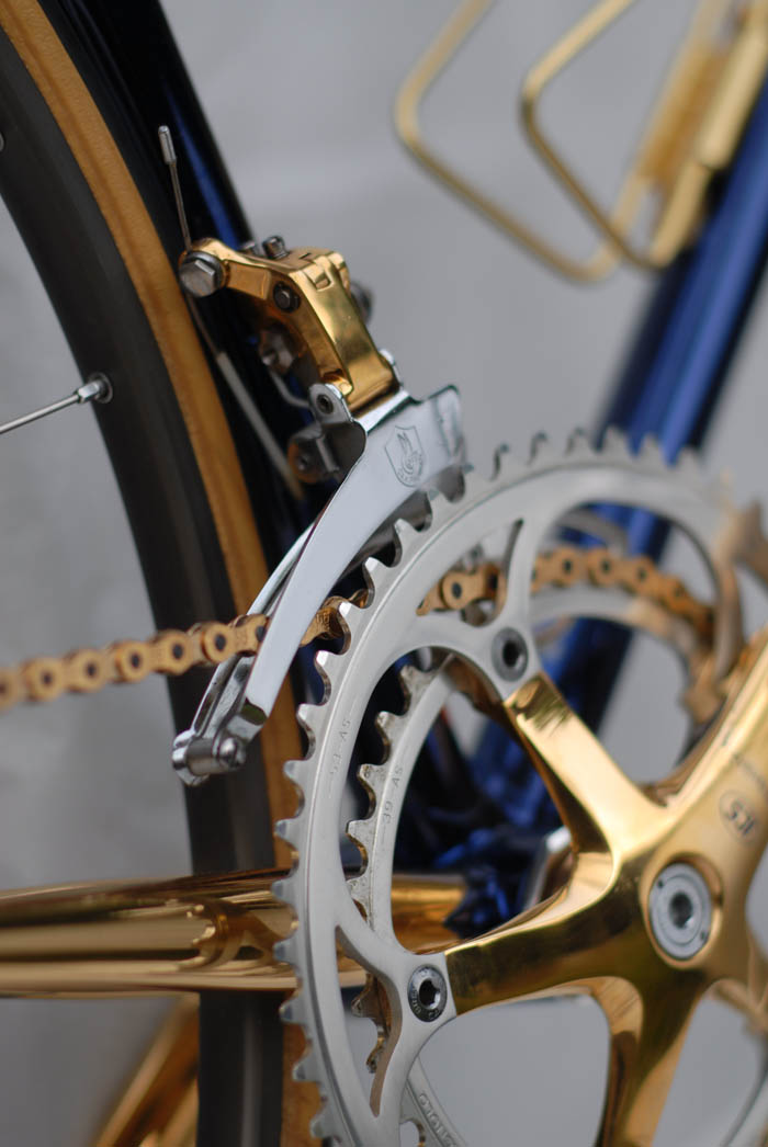 Campagnolo Corsa Record front derailleur gold plated.