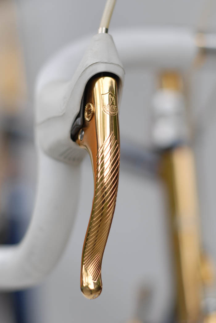 Campagnolo gold plated Delta Corsa Record brake lever.