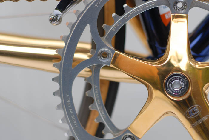 Campagnolo C Record gold plated crankset, re-designed and shaped by ICS.