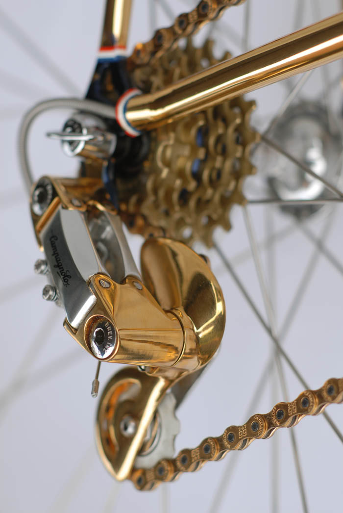 Gold detailing on Corsa Record rear derailleur.