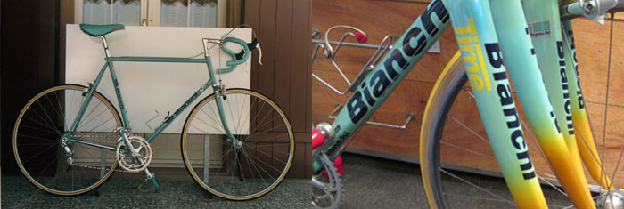 The 1987 solid colour on the Bianchi X4, completely different to the Mega Pro Bianchi of the 1990's which had a clear coat over base system.