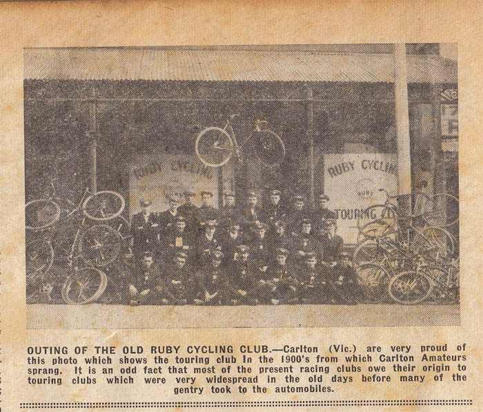 Ruby Cycling and Touring Club led to the formation of the Carlton Amateur Cycling Club.