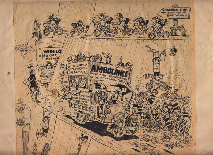 Ken Maynard's 1975 interpretation of cycling bunch madness.