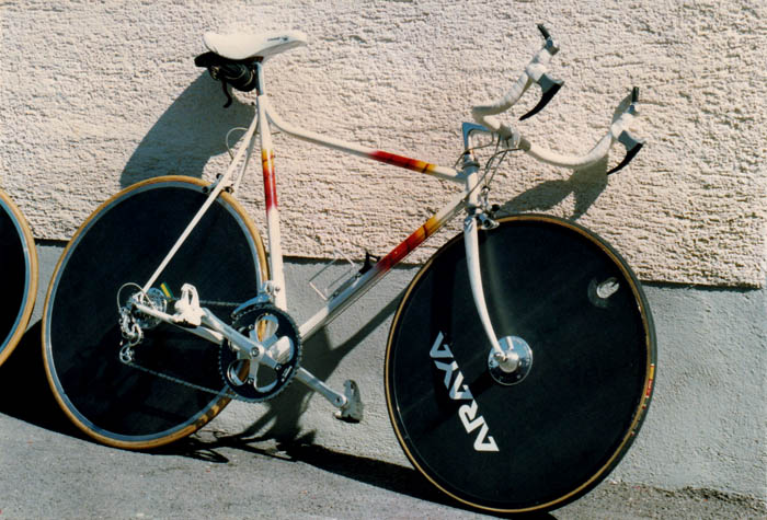 Araya discs borrowed from the track squad, this was the bike I'd borrowed from a Swiss triathlete in 1987. We had four different bike brands on the start line that year, this Italian bike, a Mazza, a Repco and a Gefsco. Australia still had a long way to go in international road racing.