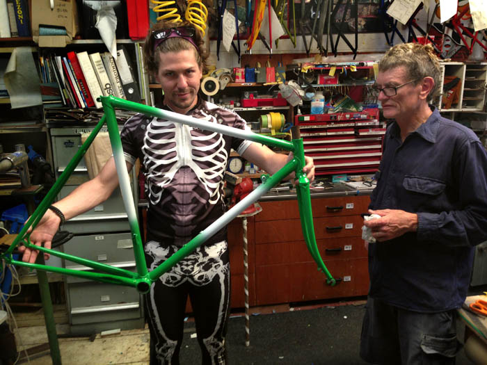 Matt the Skeletor rider picks up the Milo bike after Joe had completed the restoration work.