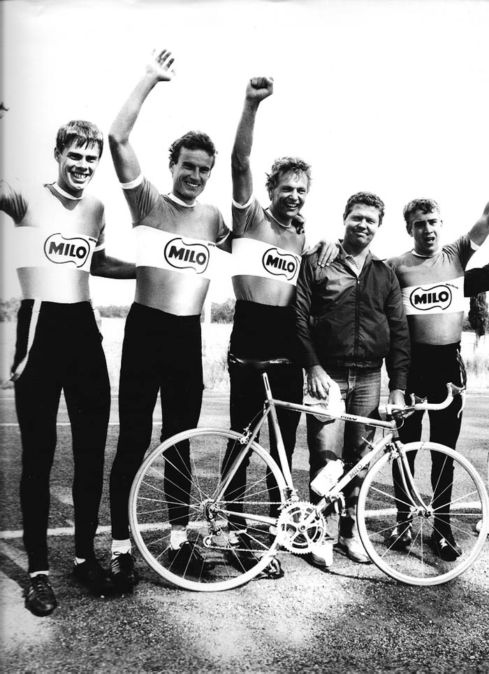 Jeff Leslie, Murray Donald, Steve Rooney and Greg Dwiar with coach Mick Glindemann in Tasmania after the test race in April 1986. They'd just ridden a 2 hours 3 minutes 100km TT