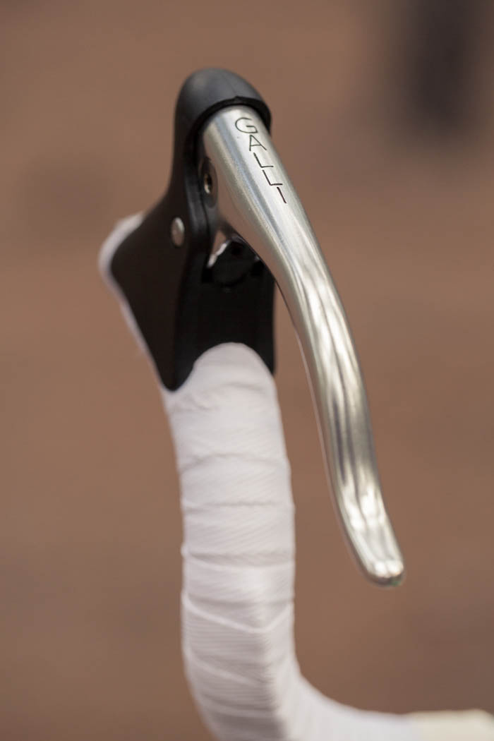 Galli brake lever attached to the ends of the bull horn handlebars.