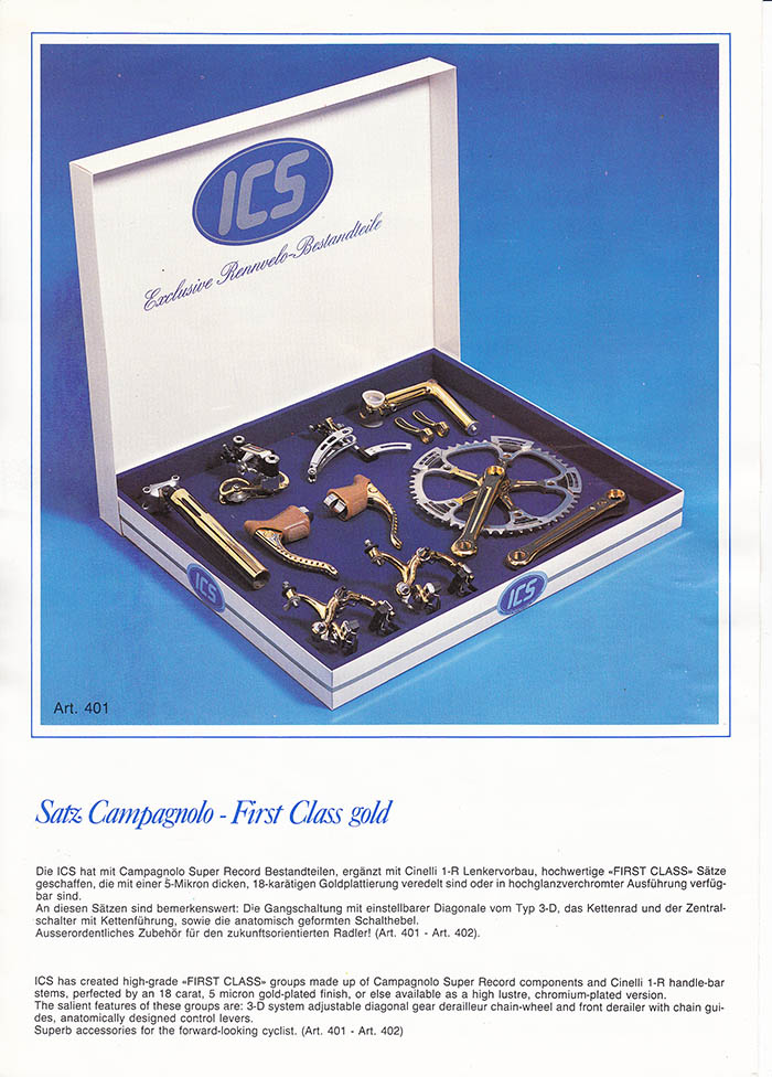 Ital Cicli Systems Campagnolo Super Record groupset. Gold plated with 5 micron thick eighteen Karat ICS gold.