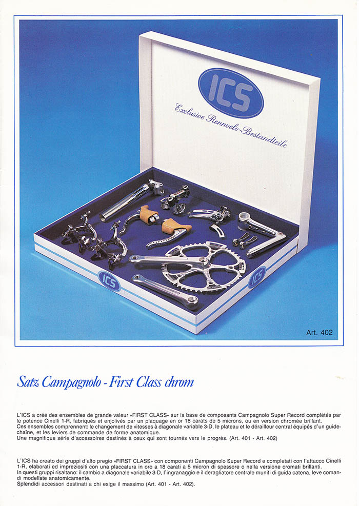ICS chrome plated Campagnolo Super Record groupset.