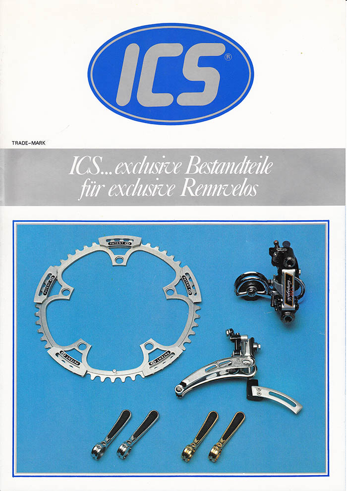 ICS show off their chain ring with external chain guides, teo variations of the Campagnolo re-worked shift levers and the Campagnolo Super Record front derailleur with it's chain guide / chain catcher.
