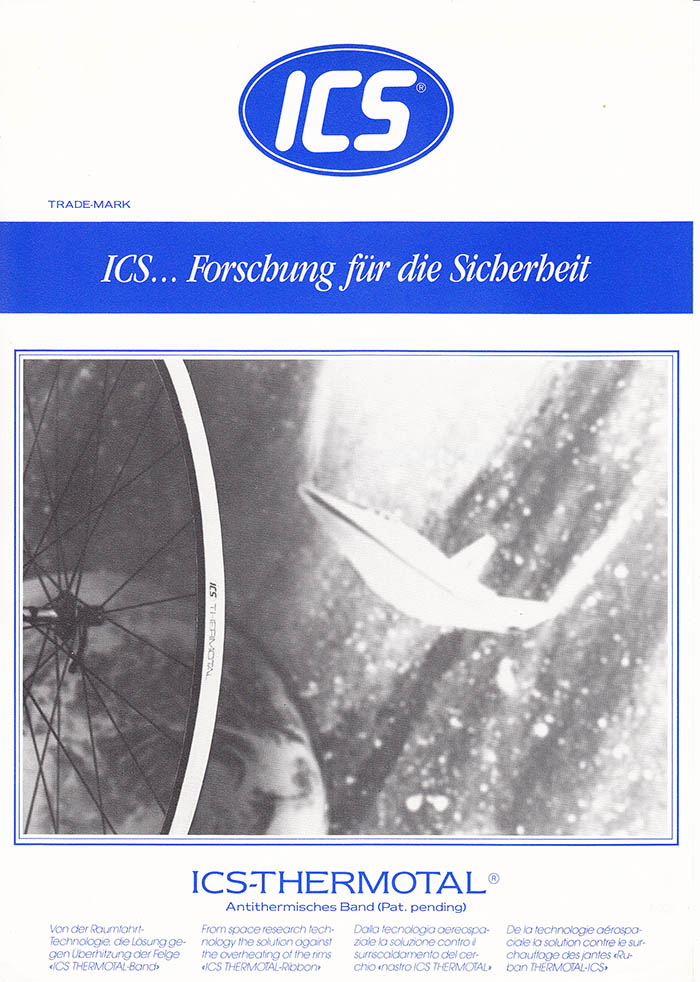 "ICS thermal band intended to lessen the overheating effect on rims. Designed from ""space age research and technology""."