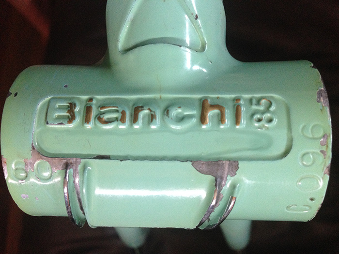 "A Bianchi ""Centenario 1985"" bottom bracket adapted for the X4. You can clearly see where the bracket has been machined, leaving behind just Bianchi 85."