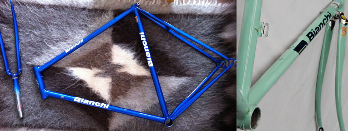 Left, Bianchi X4 frame in it's intermediate paint scheme, we brought it back to original, with a lot of work getting the chrome finish back in order.