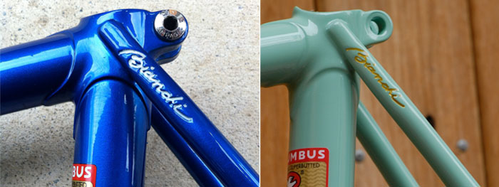 Bianchi gold detailing, we used a Uni Posca gold marker, there are many other paint choices. The paint is applied liberally using the pen, let to dry for half an hour and the residual removed carefully with thinners and cotton wool buds.