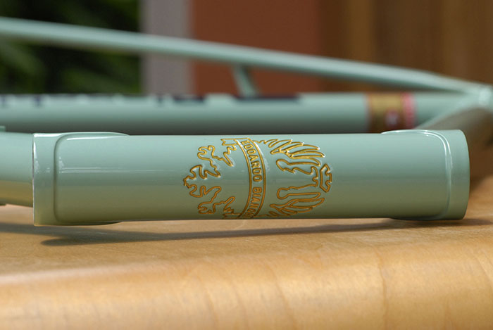 Bianchi coat of arms engraved into the head tube of a Bianchi X4
