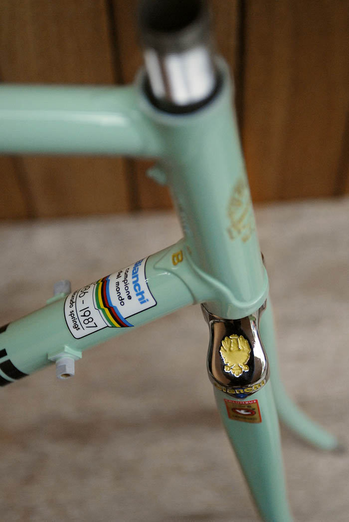 All the small details. Our Bianchi eagle is a bit blurred from it's previous life when the frame was bead blasted.