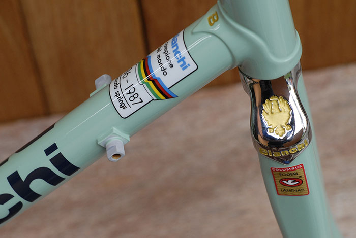 Investment cast Bianchi X4 lugs and fork crown. All the small details count, gold paint on chrome with Bianchi celeste.
