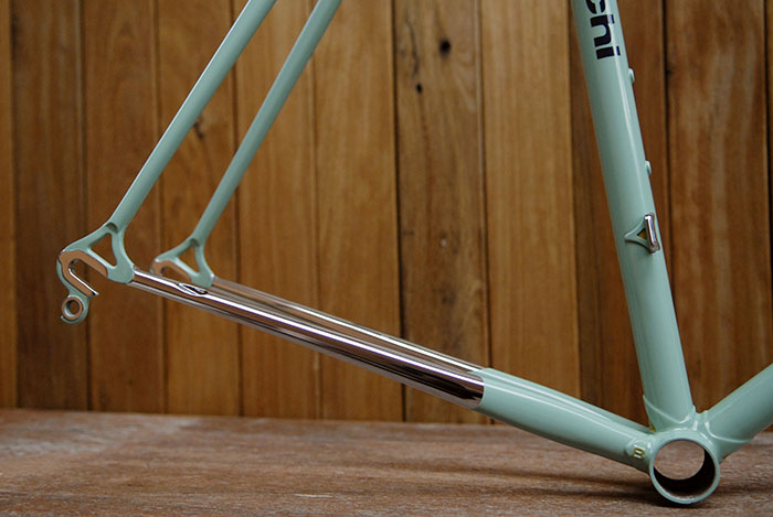 Chrome plated Bianchi X4 chain stays.